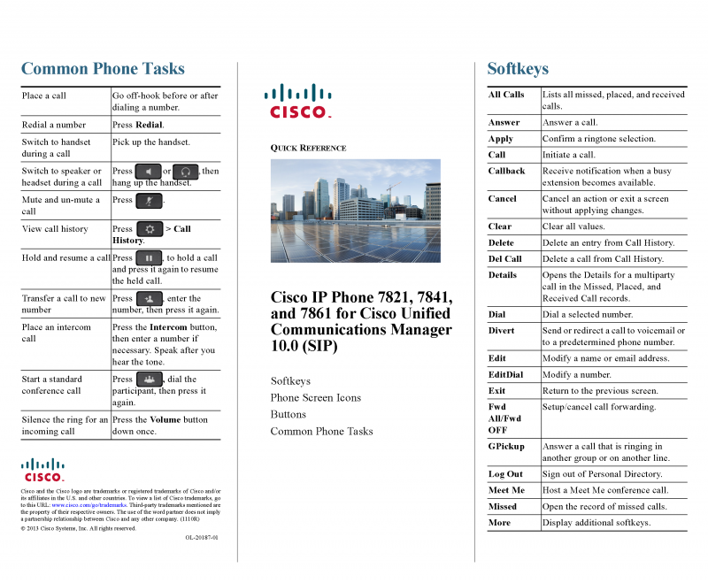voip - cisco 7841 quick reference guide